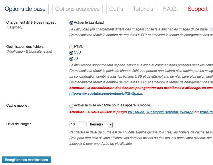 Page d'options de WP Rocket : simple et intuitive